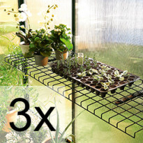 3 kpl Taittuva teräslankahylly vihreä 40x120 cm 5452