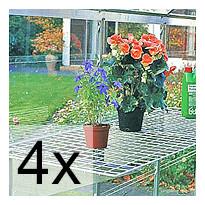 4 kpl Teräslankahylly alumiinikannattimilla 150x50 cm 4507