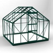 Kasvihuone 88SD, 6,5m², vihreä runko, lasilla ja sokkelilla