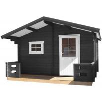 Sauna Folkbastun 4315x3270x2770 mm 8 m² 44 mm kuistilla, kiuas- ja laudepaketilla