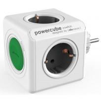 Pistorasia Allocacoc PowerCube Original + Switch, 4-osainen + katkaisija, vihreä/valkoinen