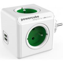 Pistorasia Allocacoc PowerCube Original USB, 4-osainen + 2 x USB, vihreä/valkoinen