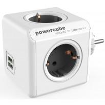 Pistorasia Allocacoc PowerCube Original USB, 4-osainen + 2 x USB, harmaa/valkoinen