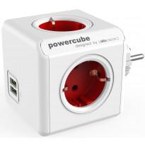 Pistorasia Allocacoc PowerCube Original USB, 4-osainen + 2 x USB, punainen/valkoinen