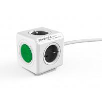 Pistorasia Allocacoc PowerCube Extended + Switch, 1,5m, 4-osainen + katkaisija, vihreä/valkoinen