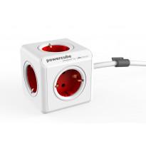 Jatkojohto Allocacoc PowerCube Extended, 3m, 5-osainen, punainen/valkoinen