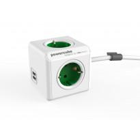 Jatkojohto Allocacoc PowerCube Extended USB, 1,5m, 4-osainen + 2 x USB, vihreä/valkoinen