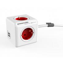Jatkojohto Allocacoc PowerCube Extended USB, 1,5m, 4-osainen + 2 x USB, punainen/valkoinen