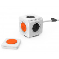 Pistorasia Allocacoc PowerCube Extended Remote set, 1,5m, 4-osainen, oranssi/valkoinen