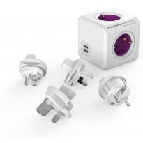Pistorasia Allocacoc PowerCube Rewirable, 4-osainen + 2 x USB, lila/valkoinen