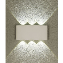 LED-ulkoseinävalaisin Aneta Triad, IP54, ylös-alasvalo, valkoinen