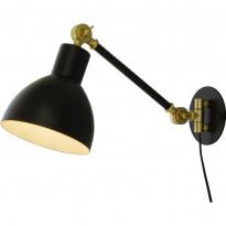 Seinävalaisin Scan Lamps Dublin, musta/mattamessinki