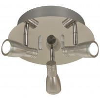 Kattospotti Columbus LED, 3-osainen, pyöreä kromi/alumiini