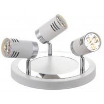 Kattospotti Pipe LED, 3-osainen, pyöreä, valkoinen/kromi