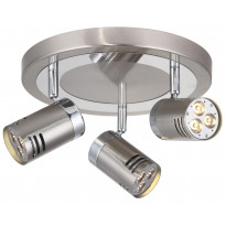Kattospotti Pipe LED, 3-osainen, pyöreä, teräs/kromi