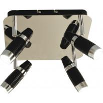 LED-kattospotti Scan Lamps Havanna, 4-osainen, musta/kromi