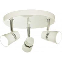 LED-kattospotti Scan Lamps Aero, 3-osainen, pyöreä, valkoinen/kromi