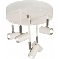 LED-kattospotti Scan Lamps Gusto, 5-osainen, pyöreä, himmennettävä, valkoinen/kromi