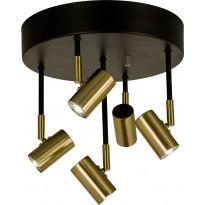 LED-kattospotti Scan Lamps Gusto, 5-osainen, pyöreä, himmennettävä, musta/mattamessinki