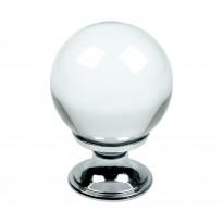 Nuppivedin Beslag Design Crystal, Ø 30x42 mm, kirkas lasi + kromi