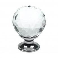 Nuppivedin Beslag Design Diamond, Ø 30x40 mm, kirkas lasi + kromi