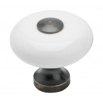 Nuppivedin Beslag Design SP 5, Ø 30x27 mm, valkoinen posliini + oksidi