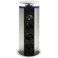 Tornipistorasia EVOline Powerport, 230V, Ø 114x287mm, 3-osainen, sininen, led-valo + rst-kansi