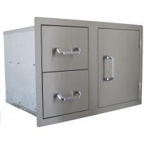 Ulkokeittiön komponentti BeefEater, 2 vetolaatikkoa + 1 ovi, rst
