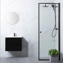 Suihkuovi Bathlife Profil 700x2000mm, kirkas lasi, musta