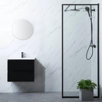 Suihkuseinä Bathlife Profil 700x2000mm, kirkas lasi, musta, Verkkokaupan poistotuote