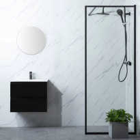 Suihkuseinä Bathlife Profil 800x2000mm, kirkas lasi, musta