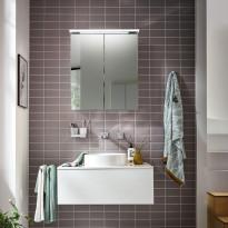 Peilikaappi LED-valaisimella Bathlife Glänsa, 600mm, valkoinen