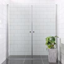 Suihkunurkka Bathlife Mångsidig Vital, kaksi ovea, 800x1900mm + 900x1900mm, kirkas, kulmikas