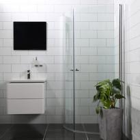 Suihkunurkka Bathlife Mångsidig Vital 45°, 900x900x1900mm, pyöreä kirkas, Verkkokaupan poistotuote