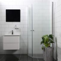 Suihkunurkka Bathlife Mångsidig Vital ovi 900mm + ovi 900mm kaareva himmeä, Verkkokaupan poistotuote