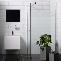 Suihkunurkka Bathlife Mångsidig Vital seinä 1000mm osittain himmeä + ovi 900mm osittain himmeä