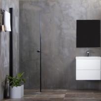 Suihkuovi Bathlife Mångsidig 900mm, kaareva, kirkas lasi, musta kehys