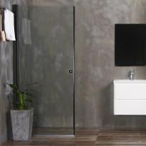 Suihkuovi Bathlife Mångsidig 800mm, suora, kirkas lasi, musta kehys
