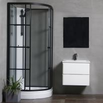 Suihkukaappi Bathlife Betrakta, 800x800mm, pyöreä, musta kehys, valkoinen suihkuseinä