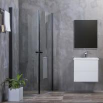 Suihkunurkka Bathlife Mångsidig, kaareva, ovi + ovi, kirkas lasi, musta kehys, eri kokoja