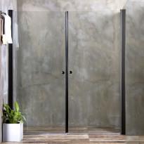 Suihkuseinä Bathlife Mångsidig, ovi + ovi, kirkas lasi, musta kehys, eri kokoja