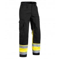 Highvis housut, musta/keltainen