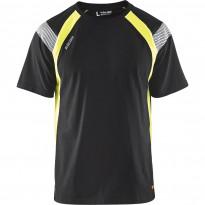 T-paita Blåkläder 3332, musta/keltainen