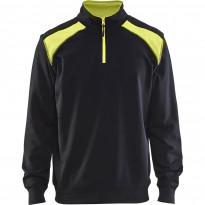 Collegepaita Blåkläder 3353 lyhyellä vetoketjulla, musta/keltainen