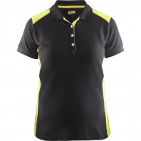 Naisten pikeepaita Blåkläder 3390, musta/keltainen