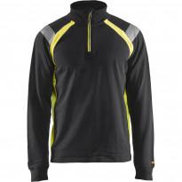 Collegepaita Blåkläder 3432 lyhyellä vetoketjulla, musta/keltainen
