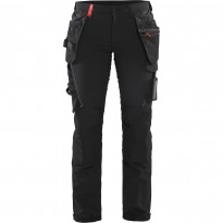 Naisten riipputaskuhousut Blåkläder 7192 Stretch, musta/punainen