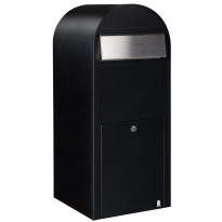 Postilaatikko Jumbo, 80x32x35cm, musta RAL9005, rst-luukku