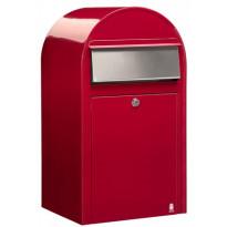 Postilaatikko Grande, 60x32x27cm, punainen RAL3001, rst-luukku, kampanjatarjouksena nimikyltti kaupan päälle!