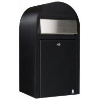 Postilaatikko Grande, 60x32x27cm, musta RAL9005, rst-luukku, kampanjatarjouksena nimikyltti kaupan päälle!